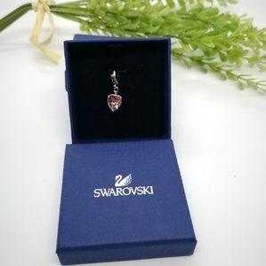 Signed Swarovski pink heart crystal charm